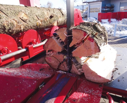 Sägespaltautomat für Meterholz Waagrechtspalter
