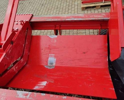 Schichtholzspalter Druckplatte mit dem Rückholhebel und höhenverstellbare Spaltwanne